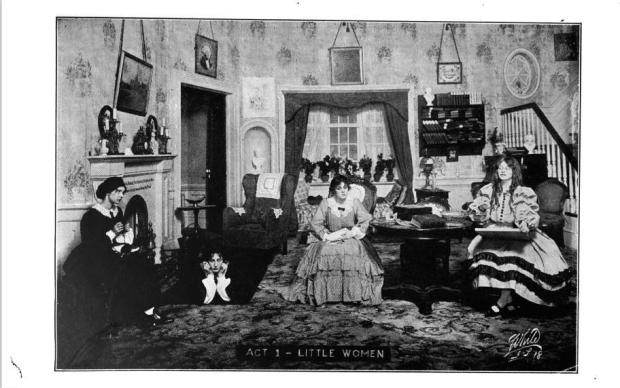 1911 Image of Stage Adaptation of Little Women. Look at those wigs.